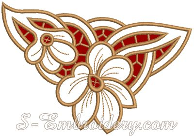 4.95 x 7.02 and 15,537 sts.                        10001 Cutwork lace flower embroidery design
