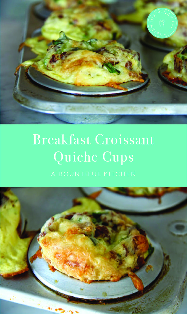 A Bountiful Kitchen: These little Breakfast Croissant Quiche Cups are made with croissants and easy to whip up in just a few minutes. Perfect for holiday breakfast and brunch! #croissant #quiche #breakfast #brunch #holidaybaking #easy