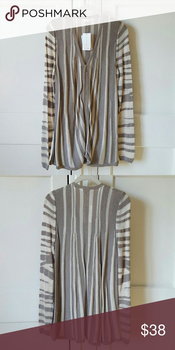 Minnie Rose Canteen Striped Zip up Cardigan Cream and Gray Striped Zip Up Cardigan Minnie Rose Sweaters Cardigans