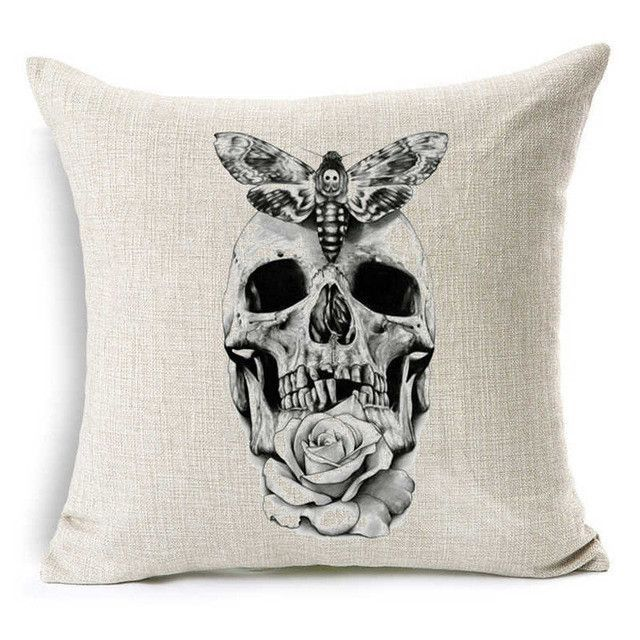 Punk Bohemia Paisley Cranium Cushion Cowl Cotton Linen Dimension 40*40