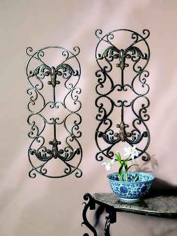Fleur De Lis Wall Panels Bronze Iron With Brass Medal By