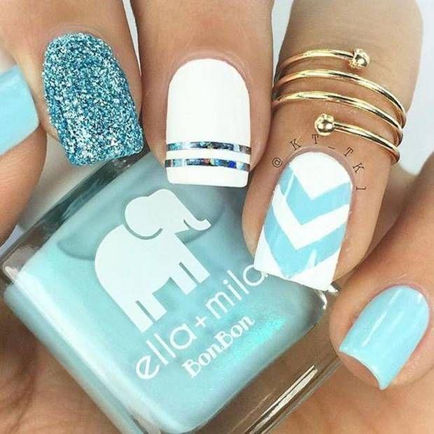 احدث مناكير ازرق سماوي فاتح و غامق 2019 The Latest Light And Dark Blue Nail Polish صور المانكير الس Bright Nail Art Makeup Nails Art Chevron Nails