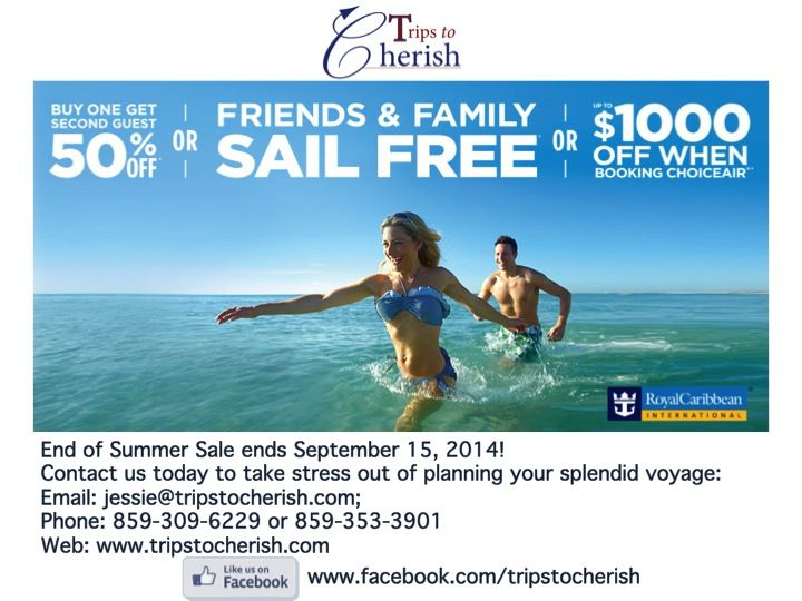 Check out three ways to save during Royal Caribbean's End of Summer Sale! Go to  http://www.tripstocherish.com/lets-get-acquainted/ to schedule your complementary vacation planning session with us!