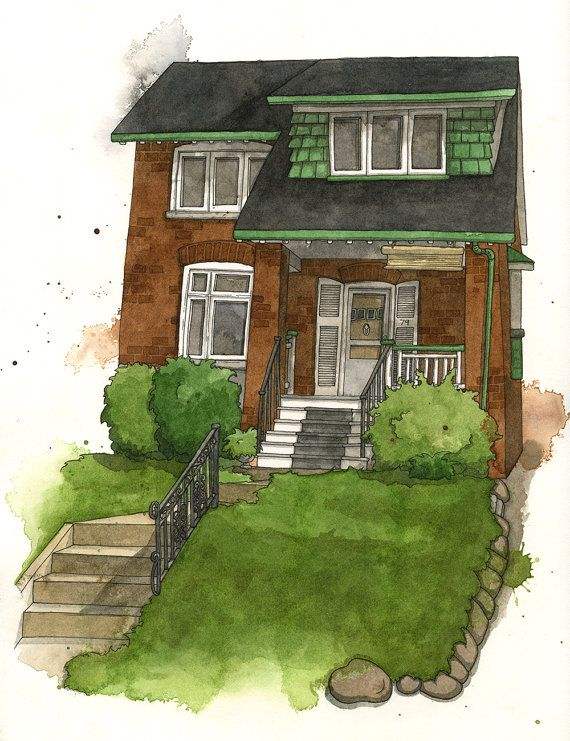 Custom House Portrait Watercolor Illustration by amandafarquharson