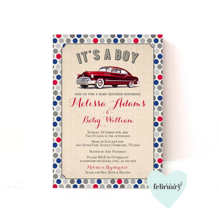 Printable Baby Shower Invitation - Vintage Car Baby Shower -It's A Boy - Red Blue Polka Dots -No.151 by AfterFebruary on Etsy