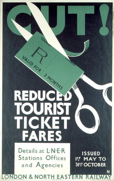Poster produced for the London North Eastern Railway to promote .reduced tourist ticket fares showing a pair of scissors cutting through a 3 month....17