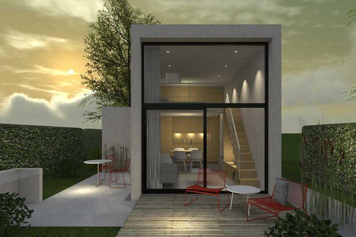 Stilrent modernistiskt attefallshus