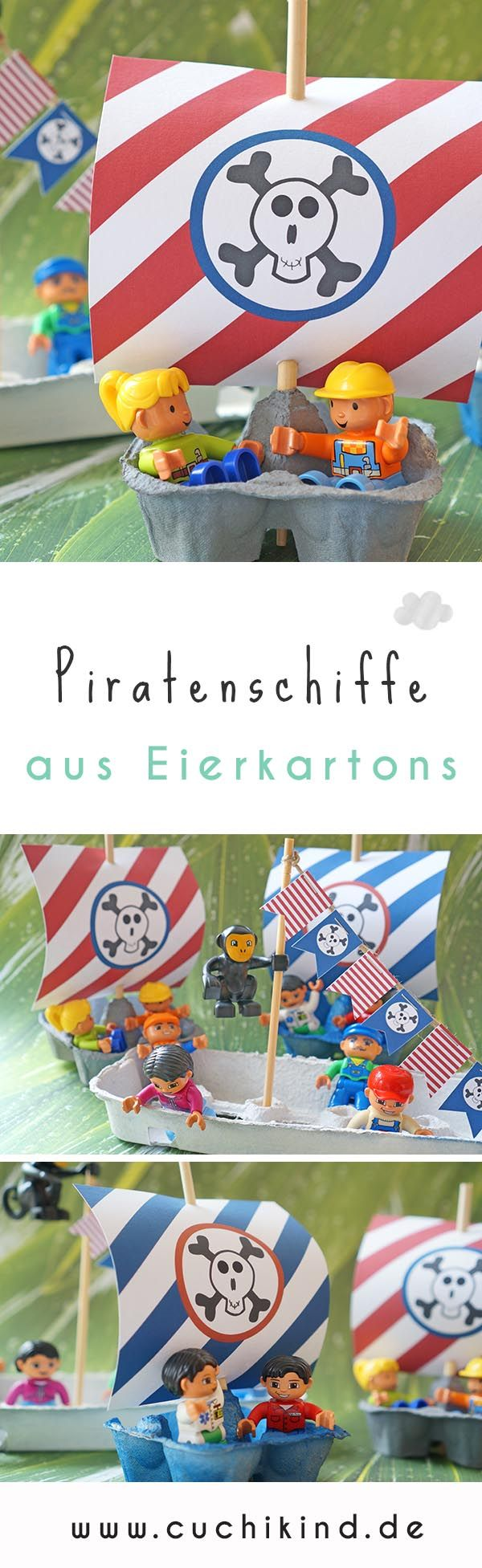 Piratenschiffe aus Eierkartons