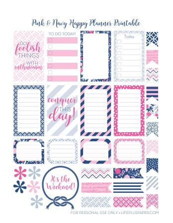 LifePlusPaper.com Happy Planner Printable Navy & Pink - 4 pages of nautical navy and pink planner stickers