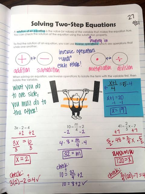 Solving Two-Step Equations interactive notebook page