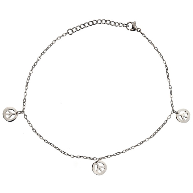 Women's Stainless Steel Anklets with Dangling Peace Signs #womensjewelry #jewelry #anklets #stainlesssteel #summer