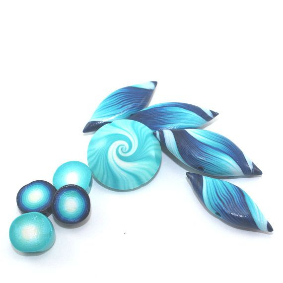 Polymer Clay beads swirl lentil bead and leaf by ShuliDesigns