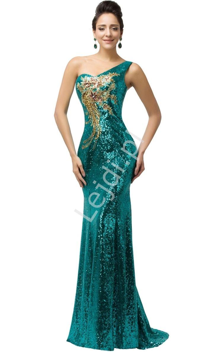 Cekinowa szmaragdowa suknia z kwiatowym złotym wzorem. Suknia o obcisłym kroju. Suknia na karnawał, estradowa.  Suknia na jedno ramię. Pod spodem podszewka. Z tyłu wiązanie satynową tasiemką -pozwala na ładne dopasowanie sukni do ciała. Cekiny ładnie umocowane na cieniutkich żyłkach - nie obsypują się i nie odpadają.
