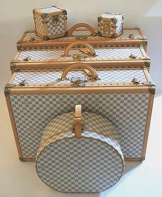 Raro Louis Vuitton Damier Azur Equipaje Tren Sombrero Belleza Tronco Funda Set | eBay