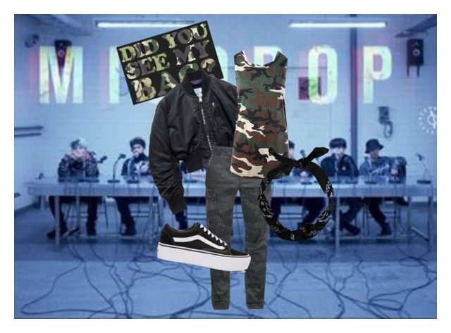 """V - MIC DROP"" by messedupidiot1013 ❤ liked on Polyvore featuring Sans Souci and Vans"
