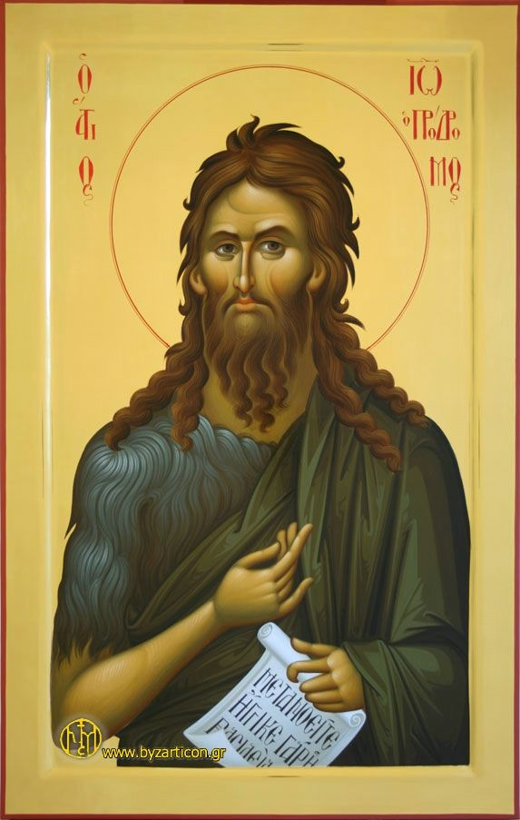 SAINT JOHN THE BAPTIST, EGG TEMPERA, WATER GILDING TECHNIQUE, WOOD PANEL WITH RAISED BORDER