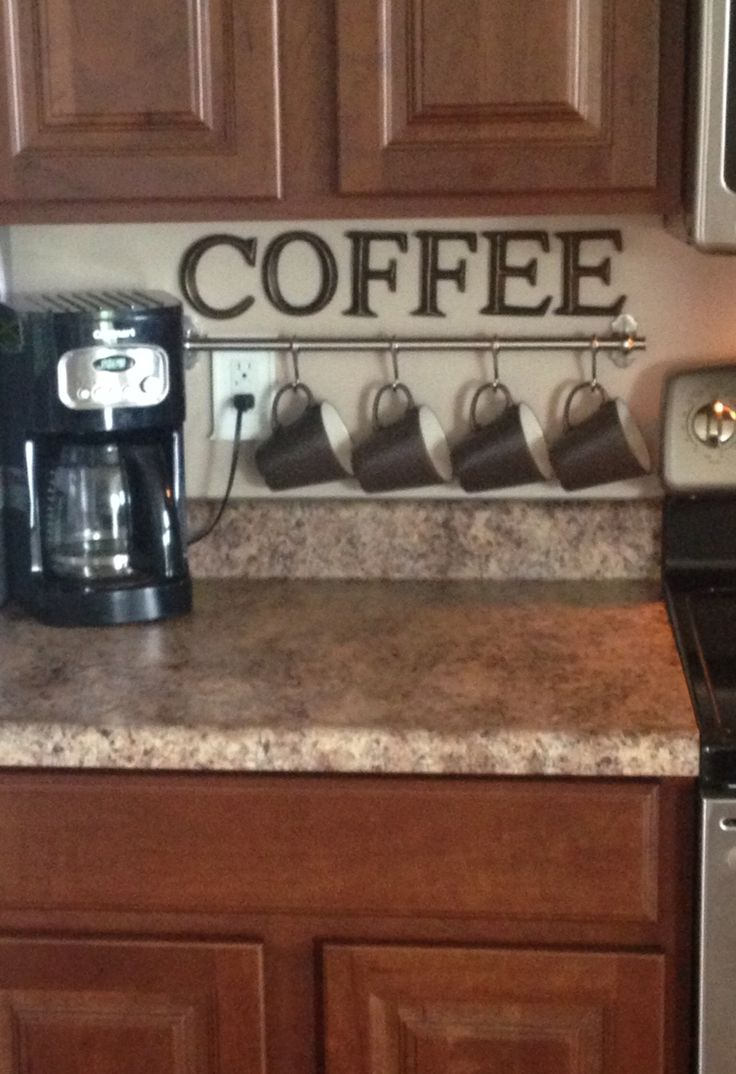 Nice Coffee Kitchen Decorations #3: Coffee Station On Small Countertop Space More
