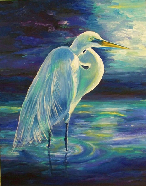 Sea turtle acrylic paintings egret in moonlight for White heron paint