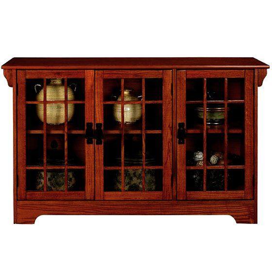 Oak Mission Glass Door Lowboy Sideboard Buffet