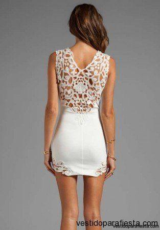 Vestidos cortos de encaje color blanco para fiesta de dia 2014 – 08