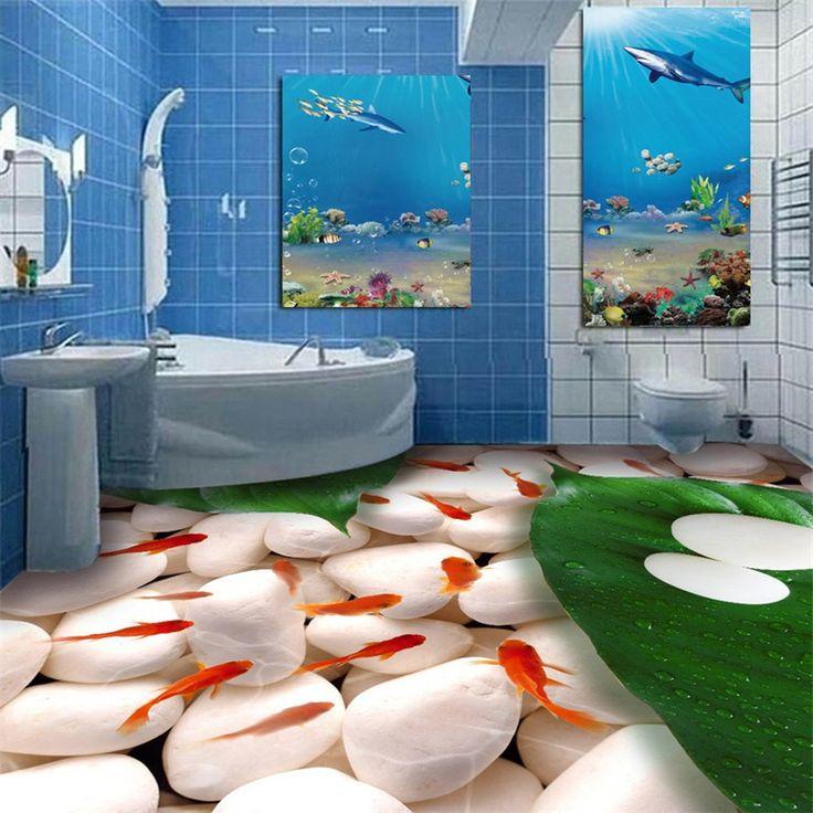 beibehang Goldfish pebble toilets bathroom 3d floor painting papel de parede 3D para sala atacado wallpaper for walls 3 d(China (Mainland))