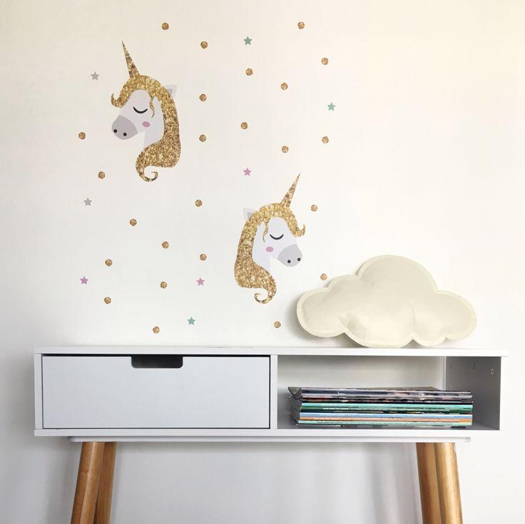 New Unicorn wall sticker set 'Golden Unicorns'! Kids wall decals