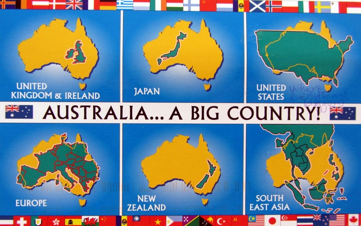 Australia is bigger than you think! This is a postcard I ...