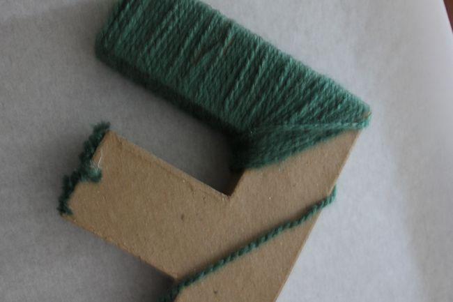 Yarn covered letter DIY