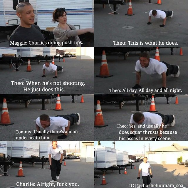 Hahaha... Theo & Maggie, well mostly Theo making fun of on poor Charlie, on the set of SOA & it's really funny.
