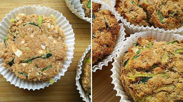 Low Carb Rezept für leckere Low-Carb Zucchini-Feta-Muffins. Wenig Kohlenhydrate und einfachzumNachkochen.Super fürDiät/zum Abnehmen.