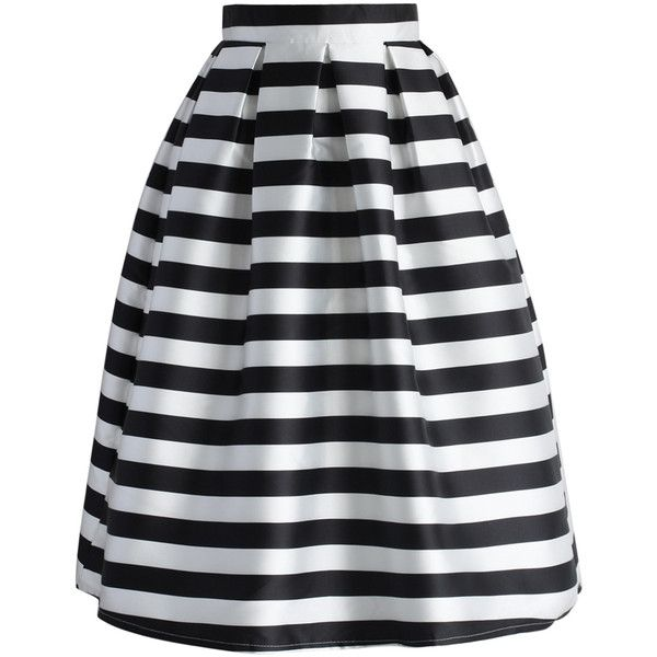 Chicwish Stripes Full A-line Midi Skirt ($42) ❤ liked on Polyvore featuring skirts, bottoms, black, saias, stripes, multi, knee length a line skirt, black midi skirt, striped skirt and mid-calf skirt