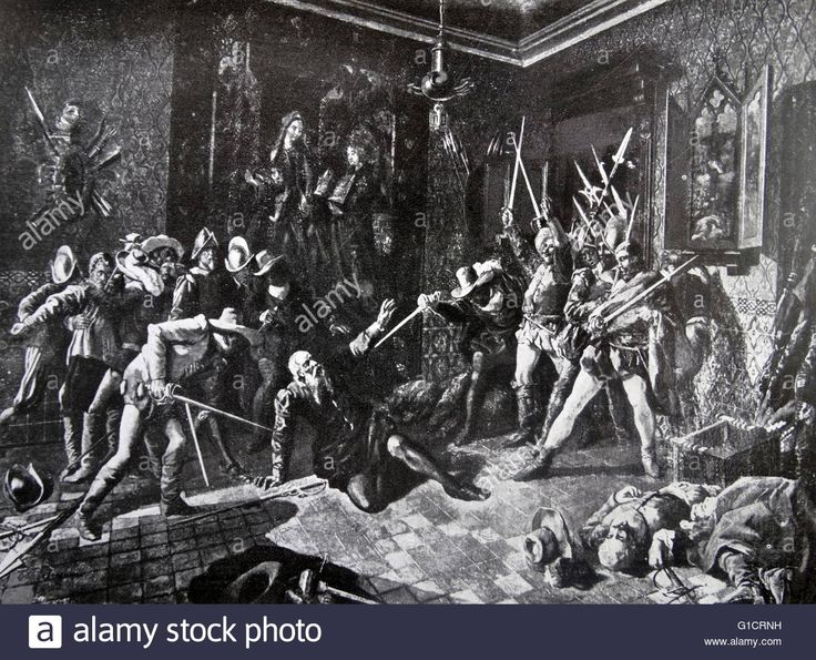 death of Francisco Pizarro González (1471 – 1541) Spanish conquistador who conquered the Incan Empire. In Lima; on 26 June 1541 heavily armed supporters of Diego Almagro II stormed Pizarro's palace; assassinated him. Diego de Almagro the younger was caught and executed the following year after losing the battle of Chupas. Stock Photo