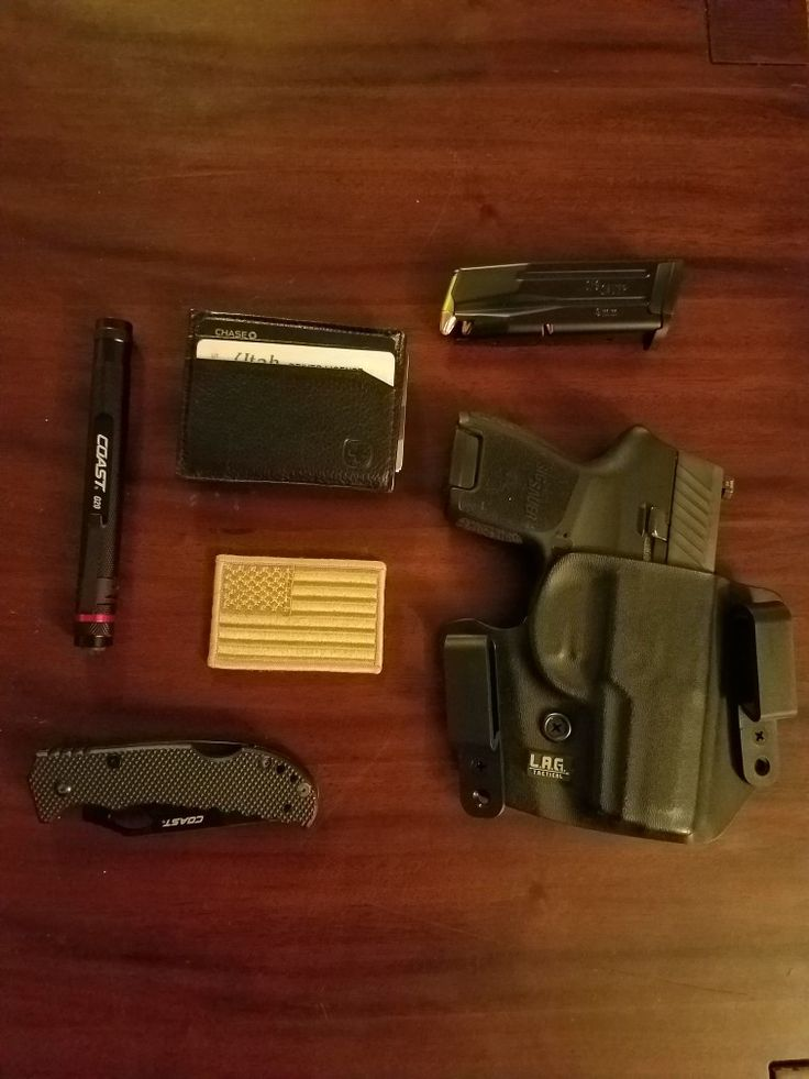 SIG SAUER P320 SUBCOMPACT-LAG holster-COAST flashlight & folding knife-SWISSGEAR low profile wallet-American Flag patch