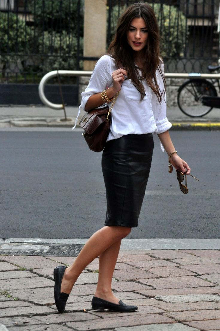 leather skirt, loafers