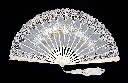 Fan, 1885–95, probably French. Ivory, silk, mother-of-pearl, metal. Brooklyn Museum Costume Collection at The Metropolitan Museum of Art.