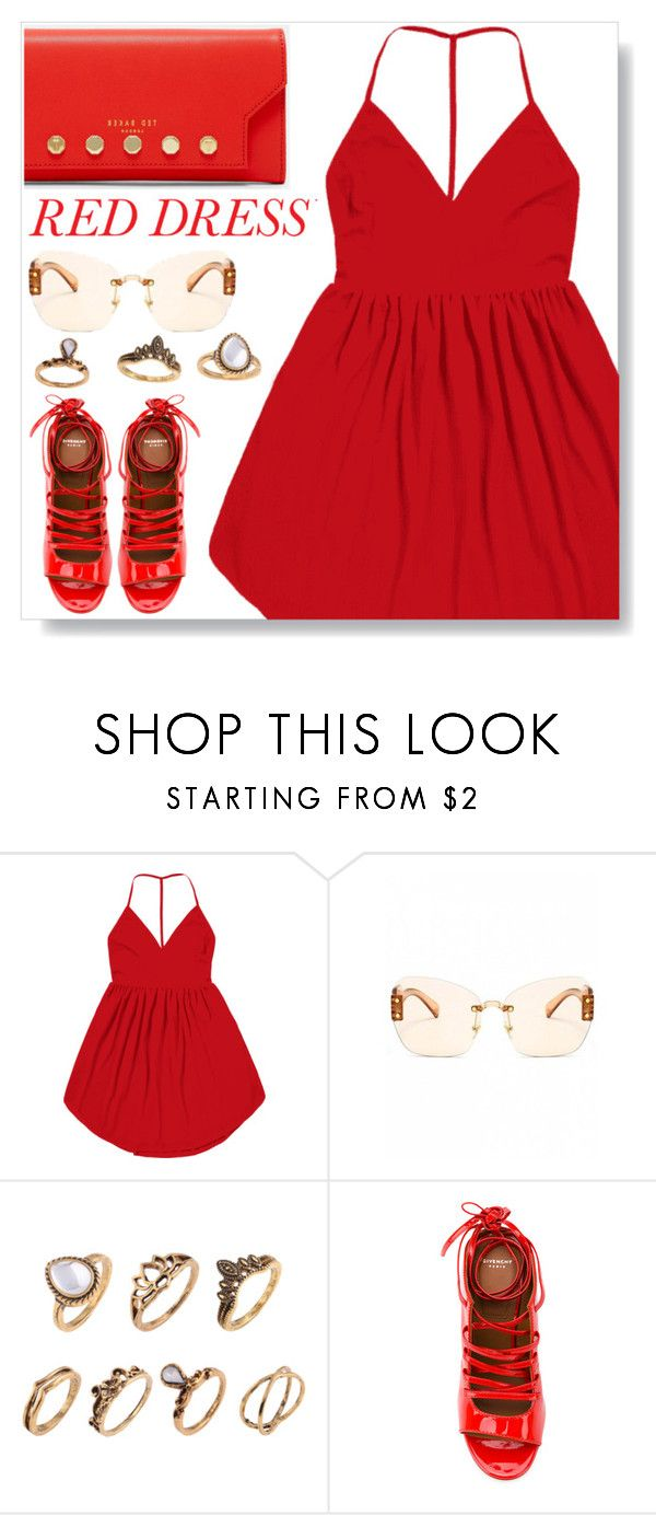 """Red dress"" by simona-altobelli ❤ liked on Polyvore featuring Givenchy, Ted Baker, StreetStyle, monochrome, red, reddress and MyPowerLook"