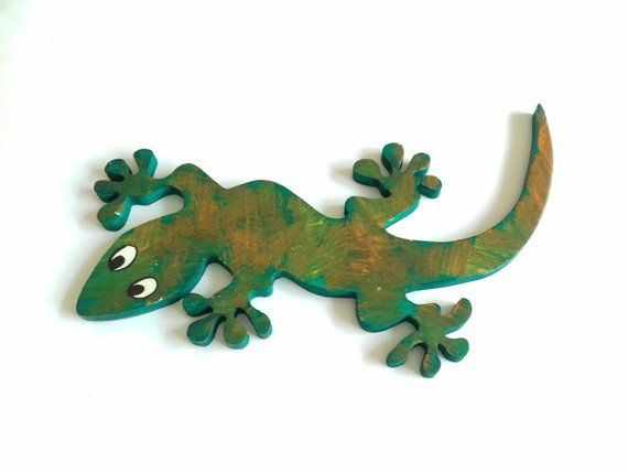 Gecko Wall Art Lizard Gecko Garden Decor Reptile Painting Wood