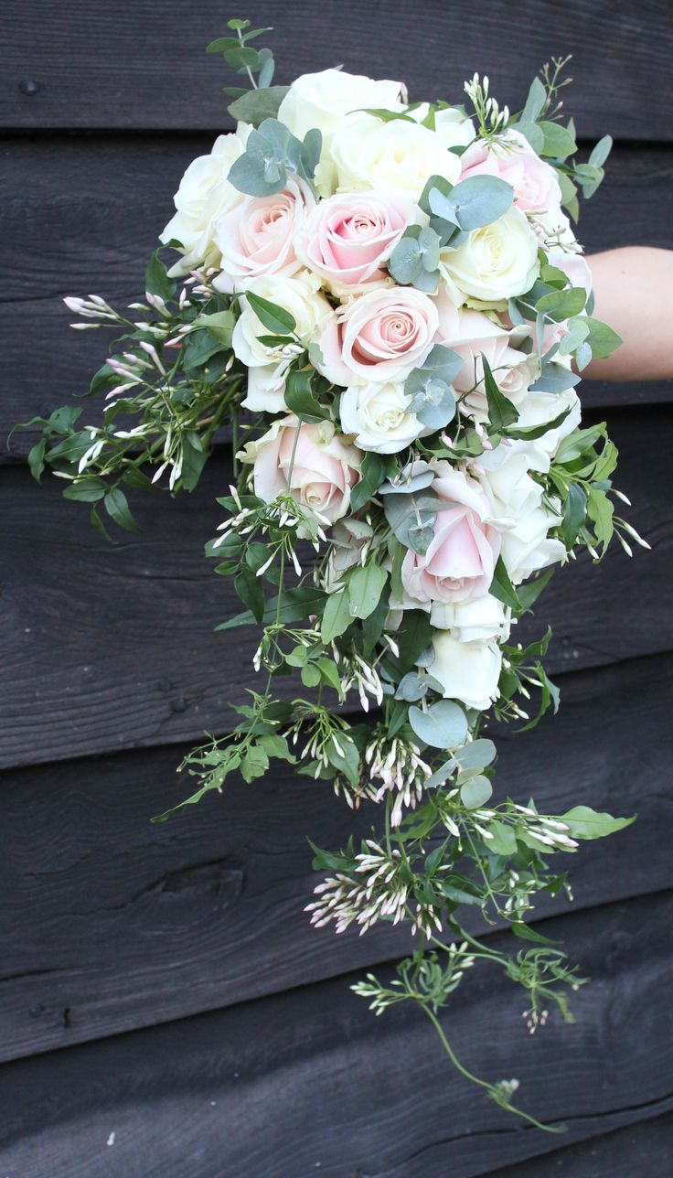 blush roses, silver dollar eucalyptus, and a romantic trail of pink jasmine vine