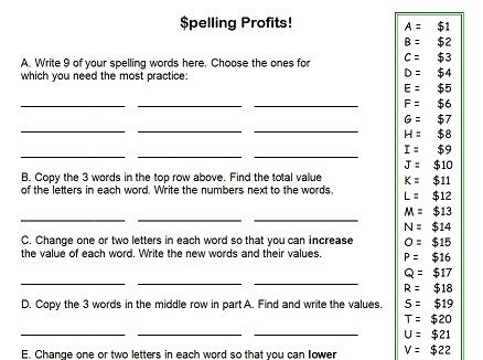 fourth grade worksheets - Spelling Profits