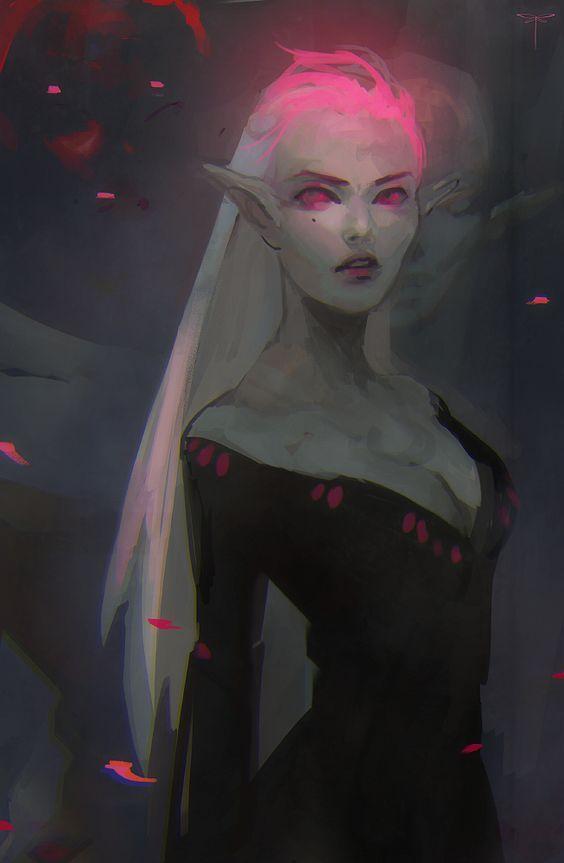Dark female vampire elf