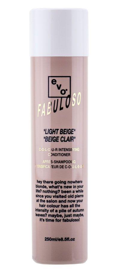 #EVO #Fabuloso   Een kleurversterkende conditioner die een instant haarkleur combineert met een voedende behandeling om de conditie van het haar te verbeteren, het haar te repareren, glans toe te voegen en de haarkleur te intensiveren. Aanbevolen voor dof, droog, gekleurd blond tot zeer licht blond haar; om een licht beige tint te bereiken.
