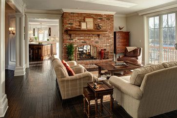 Custom Living Room Design Brick Fireplace Decorating