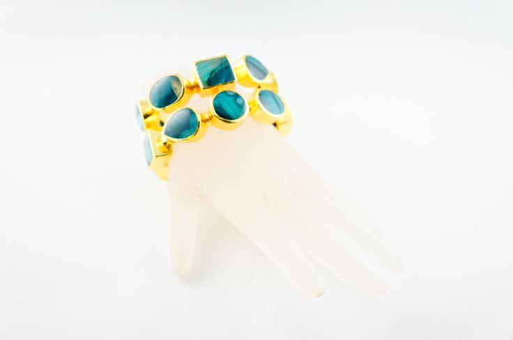 """Green Claudia Cuff - Green Claudia Cuff """"Alloy Metal (Nickel Free) with 18th Kt micro gold plated cuff with green agate gem stones inlays."""