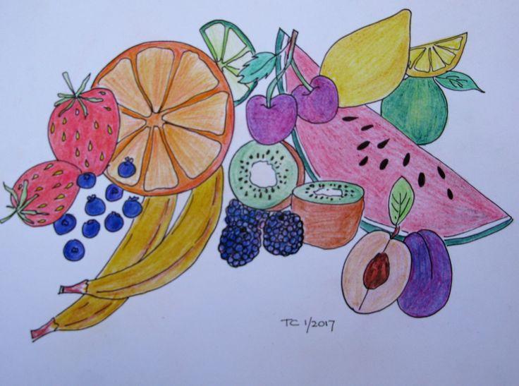 Food illustratie fruit kleurpotlood gemaakt door Tonny Cooyman