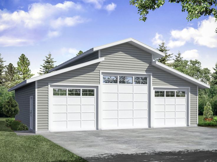 051g 0124 Garage Plan With Boat Storage Offers 3 Extra Deep Bays Garage Building Plans Garage Plan Ranch Style House Plans
