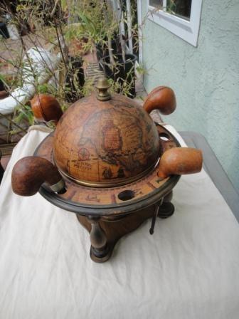 OLDE WORLD Globe Pipe Stand Tobacco Jar Humidor