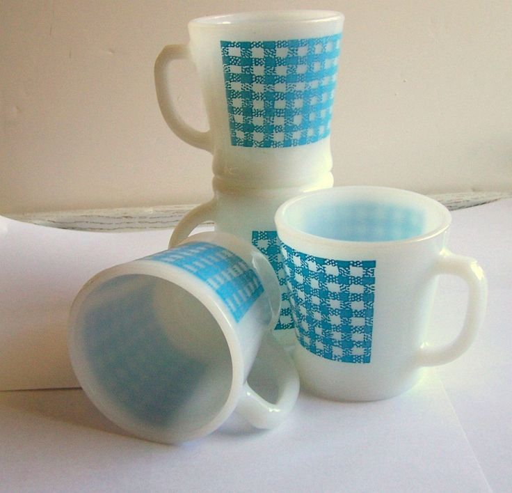 Fire King Turquoise Mugs, 60s 70s Era, Checkerboard Pattern, Vintage Set of Four D Cups, Collectible Mugs by TrashMaMa on Etsy #FireKing
