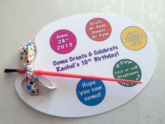 Paint Party Invite Art Party Invitation Art Birthday by PartyBijou
