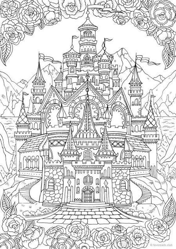Castle Printable Adult Coloring Page From Favoreads Coloring