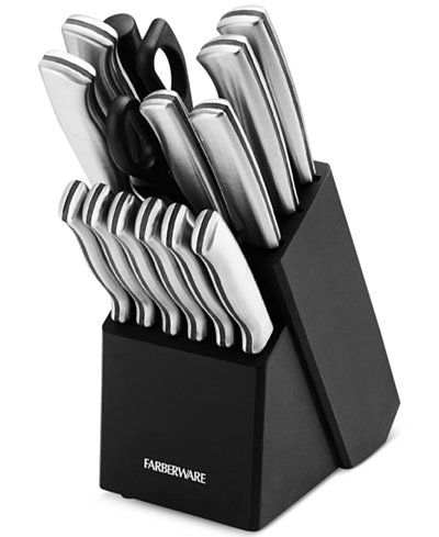 Your kitchen is equipped for a range of prep work with this 15-pc. knife set from Faberware. With the 6 steak knives included, you're ready for company, too. | Handle: metal - stamped stainless steel;